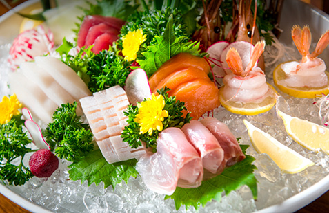 Selection of sushi on ice